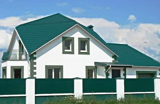 Зеленые элементы дизайна фасада дома